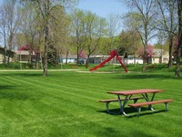 Lawn space and picnic tables